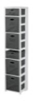 "Flip Flop 67"" Square Folding Bookcase with Folding Fabric Bins - White/Grey"