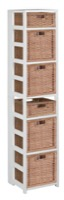 "Flip Flop 67"" Square Folding Bookcase with Wicker Storage Baskets - White/Natural"