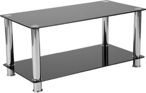 Riverside Collection - Black Glass Coffee Table - Shelves and Stainless Steel Frame