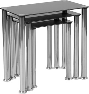 Riverside Collection - Black Glass Nesting Tables - Stainless Steel Legs