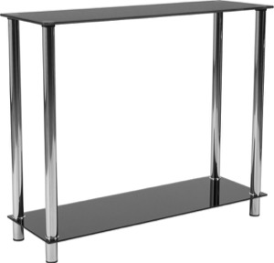 Riverside Collection - Black Glass Console Table - Shelves and Stainless Steel Frame