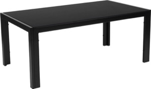 Franklin Collection - Sleek Black Glass Coffee Table - Black Metal Legs