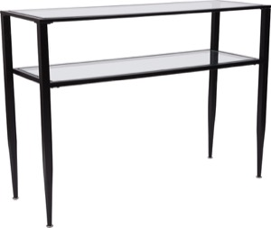 Newport Collection - Glass Console Table - Shelves and Black Metal Frame