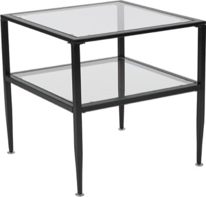 Newport Collection - Glass End Table - Black Metal Frame