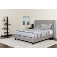 Queen Platform Bed Light Gray