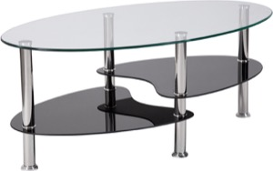 Hampden Collection - Glass Coffee Table - Black Glass Shelves and Stainless Steel Legs