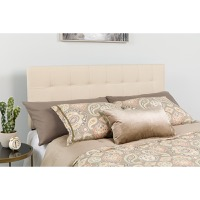 Bedford Tufted Upholstered Queen Size Headboard - Beige Fabric