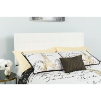 Bedford Tufted Upholstered Queen Size Headboard - White Fabric