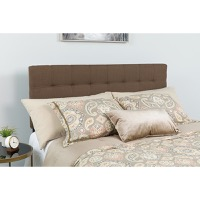 Bedford Tufted Upholstered Twin Size Headboard - Dark Brown Fabric