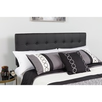 Lennox Tufted Upholstered Queen Size Headboard - Black Vinyl