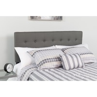 Lennox Tufted Upholstered Queen Size Headboard - Gray Vinyl