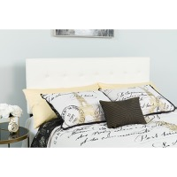 Lennox Tufted Upholstered Queen Size Headboard - White Vinyl