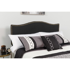 Lexington Upholstered King Size Headboard - Decorative Nail Trim - Black Fabric