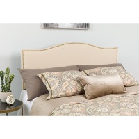 Lexington Upholstered Queen Size Headboard - Decorative Nail Trim - Beige Fabric