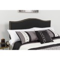 Lexington Upholstered Queen Size Headboard - Decorative Nail Trim - Black Fabric
