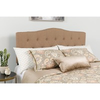 Cambridge Tufted Upholstered King Size Headboard - Camel Fabric