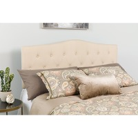 Cambridge Tufted Upholstered Queen Size Headboard - Beige Fabric