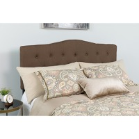 Cambridge Tufted Upholstered Queen Size Headboard - Dark Brown Fabric