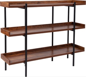 Mayfair Rustic Wood Grain Finish Storage Shelf - Black Metal Frame