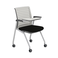 Thesis Training Chair, with Arms, Static Plastic Back, Black Fabric Seat; Carton of 2