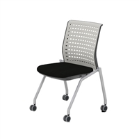 Thesis Training Chair, No Arms, Static Plastic Back, Black Fabric Seat; Carton of 2