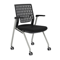 Thesis Training Chair, with Arms, Flex Back, Black Fabric Seat; Carton of 2