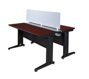"Fusion 48"" x 24"" Benching Sysem with Privacy Panel - Mahogany"