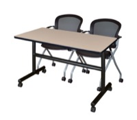 "48"" x 24"" Flip Top Mobile Training Table - Beige and 2 Cadence Nesting Chairs"