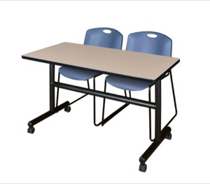 "Kobe 48"" Flip Top Mobile Training Table - Beige & 2 Zeng Stack Chairs - Blue"