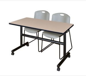 "Kobe 48"" Flip Top Mobile Training Table - Beige & 2 Zeng Stack Chairs - Grey"