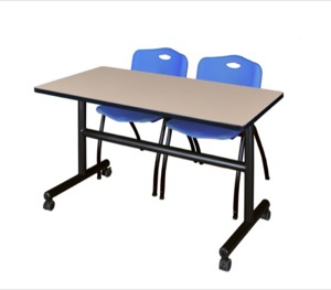 "Kobe 48"" Flip Top Mobile Training Table - Beige & 2 'M' Stack Chairs - Blue"