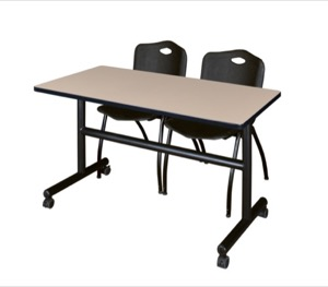 "Kobe 48"" Flip Top Mobile Training Table - Beige & 2 'M' Stack Chairs - Black"