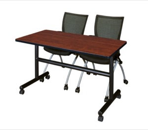 "Kobe 48"" Flip Top Mobile Training Table - Cherry & 2 Apprentice Chairs - Black"