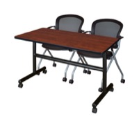 "48"" x 24"" Flip Top Mobile Training Table - Cherry and 2 Cadence Nesting Chairs"