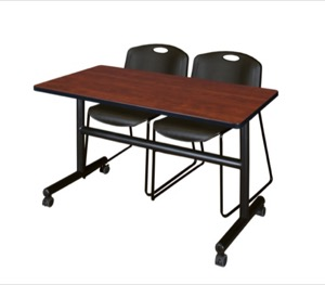"Kobe 48"" Flip Top Mobile Training Table - Cherry & 2 Zeng Stack Chairs - Black"