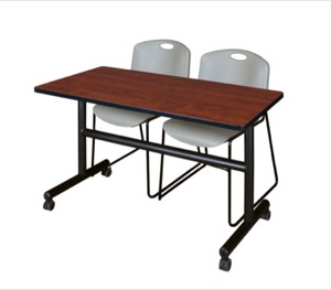 "Kobe 48"" Flip Top Mobile Training Table - Cherry & 2 Zeng Stack Chairs - Grey"
