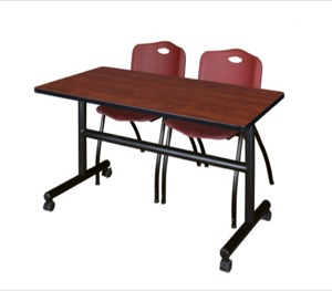"Kobe 48"" Flip Top Mobile Training Table - Cherry & 2 'M' Stack Chairs - Burgundy"