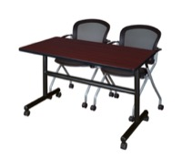 "48"" x 24"" Flip Top Mobile Training Table - Mahogany and 2 Cadence Nesting Chairs"