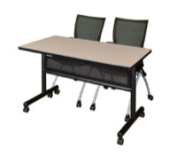 "48"" x 24"" Flip Top Mobile Training Table with Modesty Panel - Beige and 2 Apprentice Nesting Chairs"