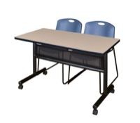 "48"" x 24"" Flip Top Mobile Training Table with Modesty Panel - Beige and 2 Zeng Stack Chairs - Blue"