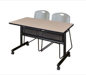 "48"" x 24"" Flip Top Mobile Training Table with Modesty Panel - Beige and 2 Zeng Stack Chairs - Grey"