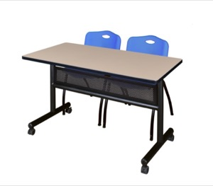 "48"" x 24"" Flip Top Mobile Training Table with Modesty Panel - Beige and 2 ""M"" Stack Chairs - Blue"