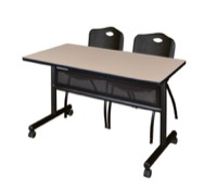 "48"" x 24"" Flip Top Mobile Training Table with Modesty Panel - Beige and 2 ""M"" Stack Chairs - Black"