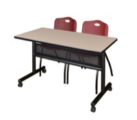"48"" x 24"" Flip Top Mobile Training Table with Modesty Panel - Beige and 2 ""M"" Stack Chairs - Burgundy"