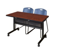 "48"" x 24"" Flip Top Mobile Training Table with Modesty Panel - Cherry and 2 Zeng Stack Chairs - Blue"