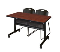 "48"" x 24"" Flip Top Mobile Training Table with Modesty Panel - Cherry and 2 Zeng Stack Chairs - Black"
