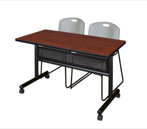 "48"" x 24"" Flip Top Mobile Training Table with Modesty Panel - Cherry and 2 Zeng Stack Chairs - Grey"