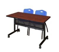 "48"" x 24"" Flip Top Mobile Training Table with Modesty Panel - Cherry and 2 ""M"" Stack Chairs - Blue"