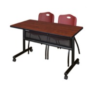 "48"" x 24"" Flip Top Mobile Training Table with Modesty Panel - Cherry and 2 ""M"" Stack Chairs - Burgundy"