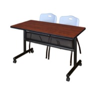 "48"" x 24"" Flip Top Mobile Training Table with Modesty Panel - Cherry and 2 ""M"" Stack Chairs - Grey"